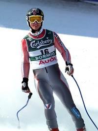 Bjarne Solbakken i målområdet etter at han kjørte inn til 26. plass på lørdagens utfor i alpin-VM (Foto: Janerik Henriksson/Scanpix)