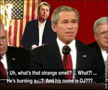 President Bush ble distrahert av et opptrinn i bakgrunnen under hans tv-sendte tale til nasjonen natt til i dag. (Innsendt av Sindre L. Lorentzen)