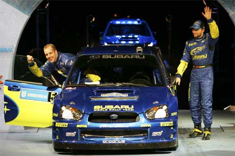 Rallyet i Sverige var siste VM-runde for Subaru Impreza 2004. Under Rally Mexico avdukes både ny bil, Subaru Impreza WRC 2005. Foto: Håkon Mosvold Larsen / SCANPIX .