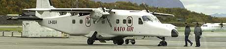 Kato Airs Dornier 228-maskin etter den dramatiske landingen på Bodø lufthavn. Foto: Scanpix