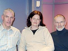 Kristiansandlaget: (fra venstre) Kjell Mellingen, Anne Hilde Hals og Dagfinn Haarr. Foto: Gunnar Kleiberg, NRK Sørlandet.
