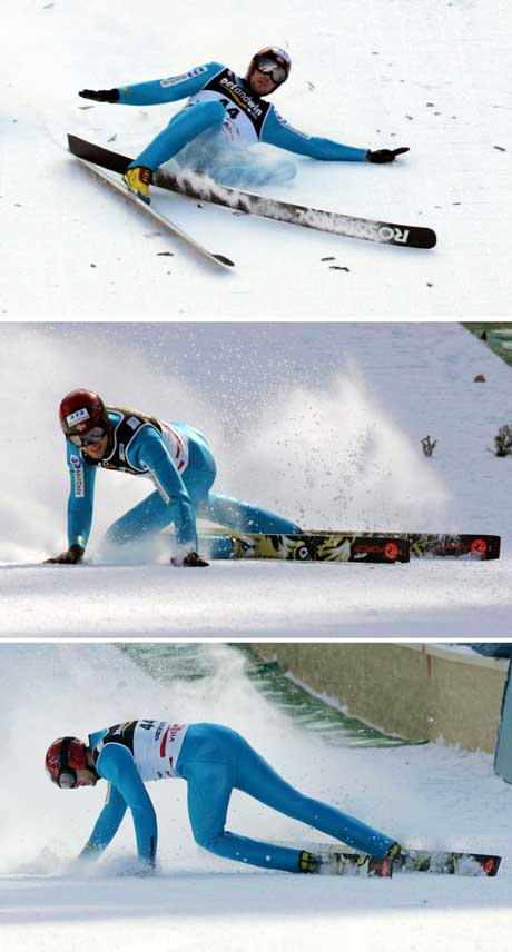 Billedserie av fallet til Magnus Moan. (Foto: AFP/Scanpix)