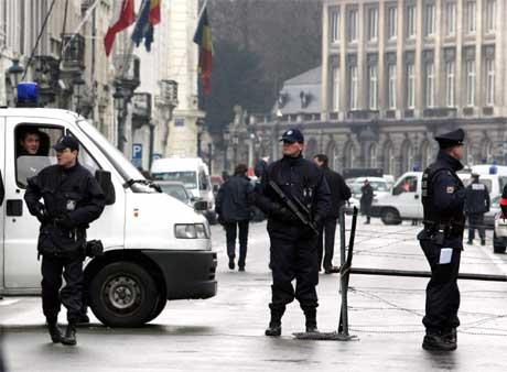Strenge sikkerhetstiltak i EU-hovedstaden Brussel under Bushs besøk. (Foto: Reuters/Scanpix)