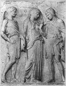 INSPIRERT KUNST: En av mange kunstneriske fremstillinger av Orfeus og Evrydike - her sammen med guden Hermes.