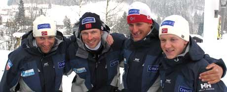 Odd-Bjørn Hjelmeset, Frode Estil, Lars Berger og Tore Ruud Hofstad gleder seg til å gå stafetten på torsdag (Foto: NRK.no)