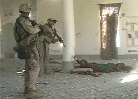 TV-bildene fra hendelsen i Falluja er sensurert av amerikanske militærmyndigheter. (Foto: Reuters / Scanpix)
