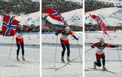 Stilstudie av Tore Ruud Hofstad som hopper over målstreken. (Foto: Jan Pitman/AP)