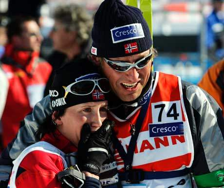 Svein Tore Samdal og Marit Bjørgen i Oberstdorf i februar. (Foto: Erlend Aas/Scanpix)