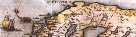Forestillingene om nordområdene var ganske uklare. Dette kartet er fra 1593.