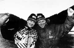To glade sølvmedaljevinnere Anne Elvebakk og Gisle Fenne fra Voss i Østerrike i 1989. (Foto: Calle Törnström NTB / Scanpix)