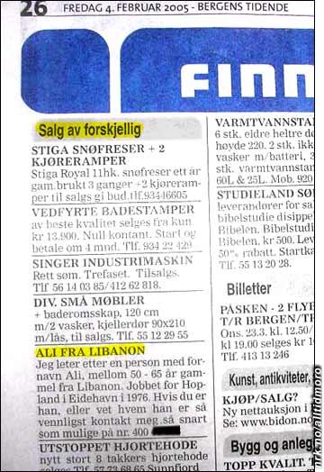 Ali fra Libanon averteres til salgs i Bergens Tidende. (Innsendt av Henrik Hope)