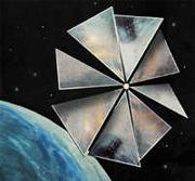 Cosmos-1 slik artisten ser den for seg i bane 850 km over jorda. (Illustrasjon: Planetary Society)