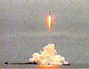 : Prøveoppskytning av Cosmos-1 fra Barentshavet, 20. juli 2001. (Foto: Planetary Society)