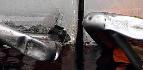 Skaden i akterenden må repareres på slipp (Foto: Kjell Jøran Hansen)