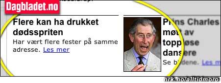Prins Charles ligger tynt an i Dagbladet.no, 3. mars.