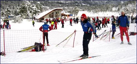 Langrennsøvelsene i gang under gode snøforhold på Skaret skisenter. Foto: Gunnar Sandvik