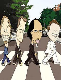 Beatallica krysser Beatles med Metallica. Omtrent slik. Illustrasjon av bandet sjøl.