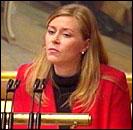 Frps Siv Jensen under finansdebatten. (Foto: NRK)
