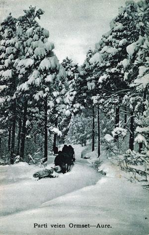 Tømmerkøyring mellom Ormset og Aure om lag 1905. Foto: Hans Ormset. Med løyve frå Fylkesfotoarkivet i Møre og Romsdal