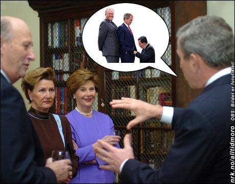 """Utpå kvelden, noen drinker senere: USAs president foreslår en """"morsom lek"""" for det norske kongeparet, for å bli bedre kjent. (Originalfoto: Kristine Nyborg / SCANPIX)"""