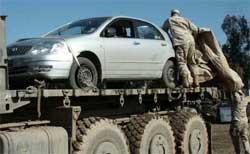 Det var denne bilen som ble beskutt av de amerikanske soldatane. (Scanpix-foto)