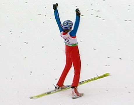 Bjørn Einar Romøren datt etter fallgrensen, men var storfornøyd med hoppet i andre omgang, som sikret han plass på pallen.