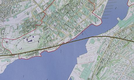 Kart over mulig tunnel under kanalen i Tønsberg. Foto: NRK.
