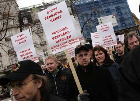 """Mange sa nei til forslaget til pensjonsreform eller """"pensjonsranet"""" (Cornelius Poppe/Scanpix)"""