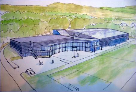 Det planlagte fleirbrukshuset til Træff blir bygd utan fotballhallen til høgre på skissa som Kosberg/Lønnheim har laga.