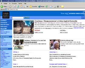 HRW: Organisasjonen Huma Rights Watch mener det foregår forbrytelser mot menneskeheten i Tsjetsjenia. (Faksimile fra www.hrw.org)