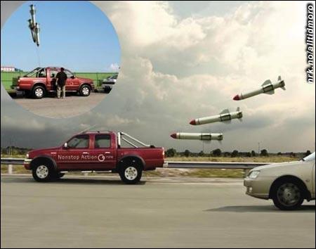 Med disse på slep vil andre bilister bli skremt, og køen løser seg enkelt opp.