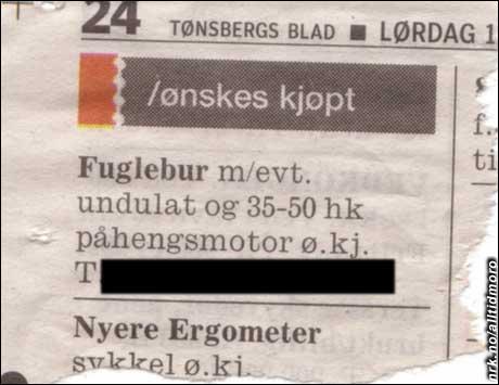 Tønsbergs Blad har de beste rubrikkannonsene, melder vår innsender Anne Rørdam. Hun ser fram til sommeren, da denne farkosten forhåpentligvis kommer på vannet.