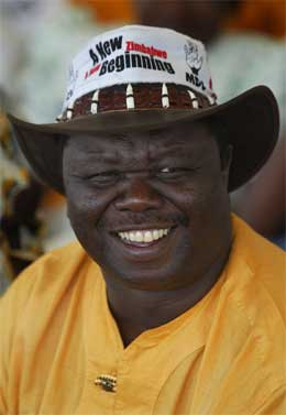 "Opposisjonsleder Morgan Zvangirai, leder av MDC (""Movement for Democratic Change""). (Foto: AP/Scanpix)"
