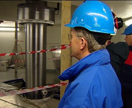 Turbinen går i Øyberget kraftverk i Skjåk. (Foto:Nils Kåre Nesvold/NRK).