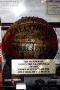 Matchball brukt i finalen i FA-cupen i 1893 (Wolves 1 Everton 0). Foto: Rig-tech Inc.