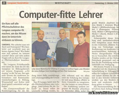 """Komputerfittelærer??? I dette klippet fra en tysk avis er det nok snakk om det engelske ordet """"fit"""", som har med trening å gjøre. (Innsendt av Marte Ø.)"""
