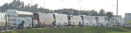 EN AV OSS: Det er anslått at opp til én million polakker har reist til Roma. Mange av dem har tatt bussen. (Foto: Wilhelm Andreas Eilertsen/NRK)