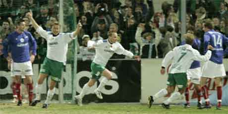 Geir Frigård ga Ham Kam 1-0 mot VIF under tippeligaåpningen på Briskeby søndag. (Foto Cornelius Poppe / SCANPIX )