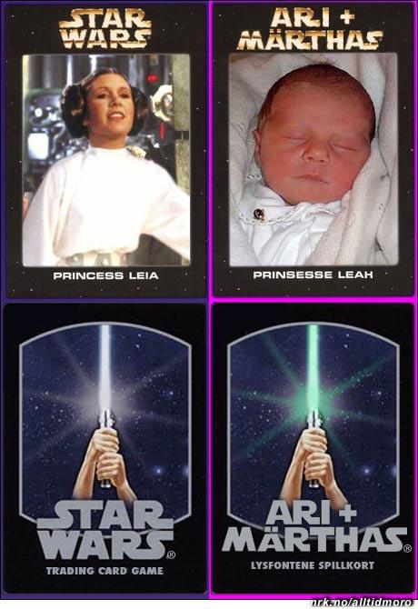 Ari og Märthas nye samlekort likner på de som ble laget for Star Wars på slutten av 70-tallet. Under: Kortenes bakside. (Alltid Moro, etter en ide av Vidar Hagen)