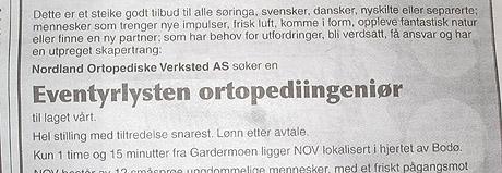 NOV søker etter eventyrlysten ortopediingeniør. Foto av annonsen.