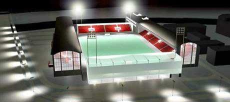 Det nye stadionanlegget på Kråkerø gir ikke plass til Fredrikstad mekaniske verksted, som må flytte. Illustrasjon: Griff Kommunikasjon.