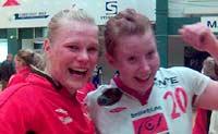 Glade Levanger-jenter: Keeper Siri Langseth og Nina Bjørk Arnfinnsdottir.