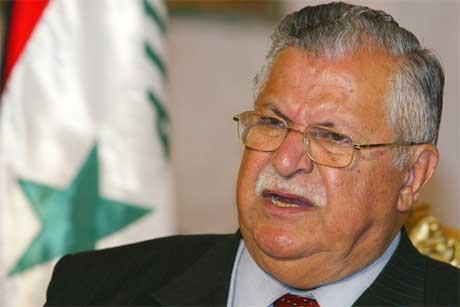 Talabani er advokat og menneskerettsforkjemper, og sier at hans prinsipper ikke tillater ham å undertegne Saddam Husseins dødsdom, på tross av all lidelse Saddam påførte kurderne (Scanpix/Reuters)