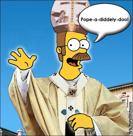 For første gang i historien ble det i dag valgt en pave som kommer fra The Simpsons. (Innsendt av Harald Wanvik)