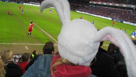 Kulturkaninen blir både opprømt og skremt når hun ankommer fotballstadion. Foto: NRK