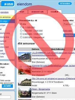 Her får du ikke annonsere boligen som privatperson. Illustrasjon: NRK