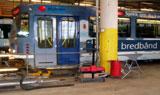 Sporveiens verkstedhall på Grefsen i Oslo. En arbeidsplass der arbeiderne er svært støyutsatt. Foto: NRK