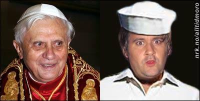 """""""Benny"""" Ratzinger (foto: Scanpix / AP) og forbildet, """"Happy-Tom"""" i Turboneger."""