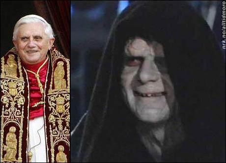 Hmm, hvilken side er egentlig den nye paven på? Til venstre: Benedikt XVI. Til høyre: Den onde Keiseren i Star Wars. (Takk til Agnes M. R.)