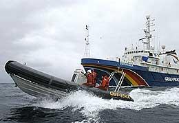 Fra aksjonen i havet utenfor Andenes. Foto: Greenpeace.
